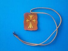 Mens Womens Unisex Rectangle Genuine Leather Charm and Necklace Cord