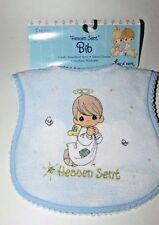 New Precious Moments blue baby bib Angel boy Heaven Sent terry cloth