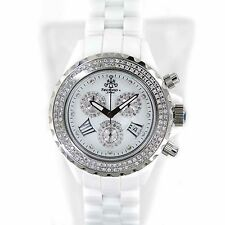 TECHNO JPM 868C DIAMONDS BEZEL WHITE CERAMIC CHRONOGRAPH QUARTZ WOMENS WATCH