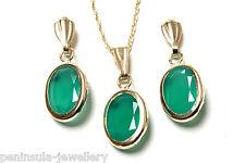 9ct Oro Verde Agata Ovale Ciondolo e Orecchino Set Made in UK in Scatola Regalo