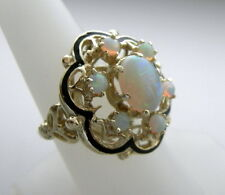 GORGEOUS VINTAGE OPAL & BLACK ENAMEL  RING 14K YELLOW GOLD  11.7 GR