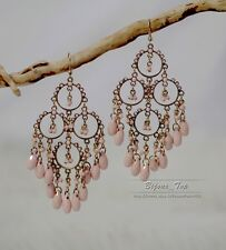 Boucles d`Oreilles Grosse Chandelier Rose Class Tassel Mini Perle Vintage BB 8