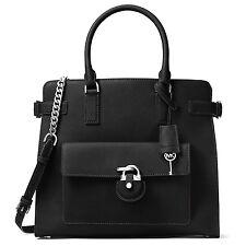 NWT MICHAEL KORS EMMA LG Saffiano Leather N/S Satchel Crossbody Bag BLACK $448