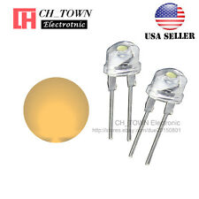50pcs 8MM Water Clear Warm White Light Straw Hat 0.5W LED Diodes Wide Angle USA