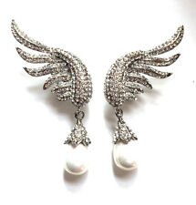 Butler and Wilson CLEAR ONLY Crystal Enamel Wing Pearl Drop Earrings NEW