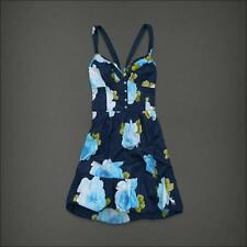 ABERCROMBIE & FITCH Camille Dark Blue Floral Heartline Sleeveless Summer Dress