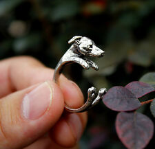 Antique Silver Plated  Greyhound Dog Ring  / Thumb Ring Adjustable ladies gift