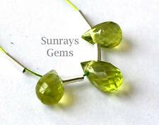 NATURAL PERIDOT BEADS FACETED BRIOLETTE 4X6 - 4X6.5MM GEMSTONE 2.5CTS 3 PCS#3894