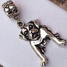 Silver PITBULL K-9 Paw Puppy Dog Canine Pit Dangle Fits European Charm Bracelets