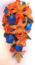 Wedding Bouquet Bridal Silk Flowers 17 pc package ORANGE ROYAL Blue CALLA LILY