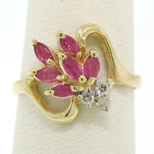 14k Solid Gold 0.77ctw Marquise Ruby Round Diamond Shooting Star Cocktail Ring