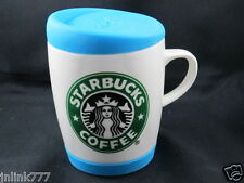 New Starbucks Ceramic Coffee Mug with Blue Silicone Lid
