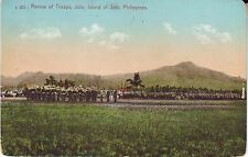 Philippines Jolo - USA Troops Review old unused postcard