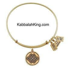 Wind & Fire Endless Knot Charm Gold Expandable Bangle Bracelet Made In USA