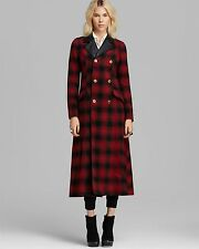 Free People Maxi Wool Sergeant Military PeaCoat Shadow Red Plaid Sz 8 NEW