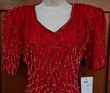 Silk Cocktail Evening Dress Sequined NEW L Womens 14 Red Mark & John by Sam 5g21