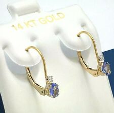 GENUINE 0.45 Cts TANZANITE & DIAMONDS 14k Gold EARRINGS LEVER BACKS * Free s/h *