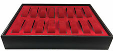 Wooden Frame 16 Grid Velvet Watch Jewellery Display Storage Case Box Red Tray