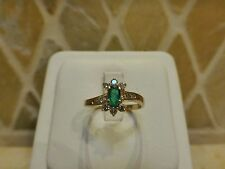 Vintage estate SGS 14k yellow gold natural oval emerald diamond floral ring 2.1g