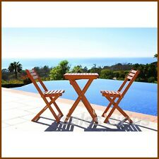3-Piece Bistro Set Wooden Patio Folding Table Chairs Outdoor Garden Wood Sets