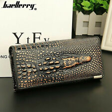 3D Crocodile Grain Women Long Wallets Genuine Leather Embossed Design Purses US