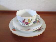 Meissen Kaffeegedeck Tasse Untertasse Teller Dekor Blume