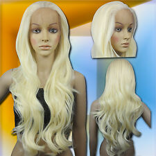 70cm Light Golden Blonde Heat Styleable Lace Front Wavy Long Cosplay Wigs S_LGB