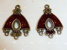 Pack de 2 antiqué finition en bronze chandeliers avec émail rouge - 29 mm...... F616 *