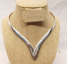 Vtg Sterling Silver Taxco Bib Collar Choker Necklace Estate Mexico Cleopatra