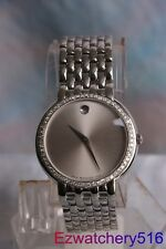 NEW Men's Movado Certa st.steel 0.80ct.apx.custom set real diamond Watch 0605614