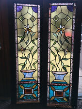 """Pair of Victorian Stained Leaded Glass Sidelights Windows 42"""" by 14"""""""