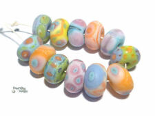 GUM DROPS Handmade Lampwork Beads Turquoise Blue Melon Pink Purple Yellow Matte