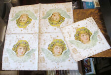 5 NEW GERMAN VICTORIAN CHRISTMAS ANGEL EPHEMERA ART DECOUPAGE PAPER NAPKINS