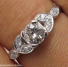 0.61CT ANTIQUE VINTAGE DECO OLD EURO DIAMOND ENGAGEMENT WEDDING RING PLATINUM