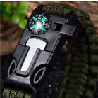 New Rope Paracord Survival Bracelet Fire Starter Compass Whistle Outdoor Wrist