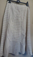 Per Una UK10 EU38 US6 cream lined panel skirt with green and brown stripes