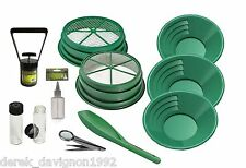 "SS2 11pc Green  Large Gold 1/2"" & 1/8"" Classifier Screen & Gold Pan Panning Kit"
