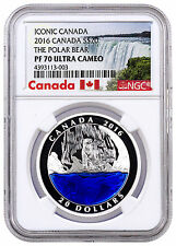 2016 Canada $20 1 Oz Colorized Silver Iconic Polar Bear NGC PF70 UC SKU41515