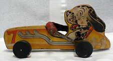 OLD WOODEN FISHER PRICE PULL TOY WITH DALMATION DRIVER