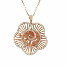 Rose Gold-Tone Sterling Silver White CZ Flower Womens Necklace Pendant