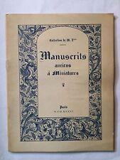 MANUSCRITS ANCIENS A MINIATURES 1936 CATALOGUE ILLUSTRE