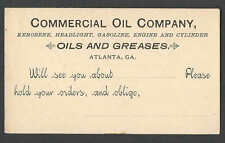 Ca 1888 PC ATLANTA GA COMMERCIAL OIL CO SELLS KEROSENE HEADLIGHTS SEE INFO