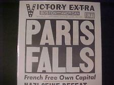 VINTAGE NEWSPAPER HEADLINE~WORLD WAR 2 FRANCE DEFEAT NAZI ARMY PARIS FALLS WWII~