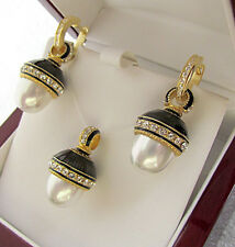 SALE ! STUNNING EGG PENDANT & EARRINGS SET STERLING SILVER 925 with WHITE PEARL