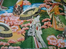 Fat Quarter Japanese Ladies Geisha Garden Scenic 100% Cotton Quilting Fabric