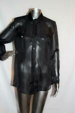 Womans ETRO Sheer Black Button Down Silk Shirt Size 38 NWOT