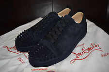 Men's Chrisitian Louboutin Louis Junior Flat Nuit Navy Suede Spikes 10 Size 43