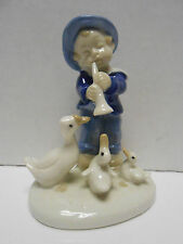 German Porcelain Goose Duck Boy Figure Boy Playing Horn Watched by Geese #12085