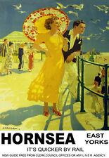 Hornsea East Yorks dar un paseo en el carril de tren de paseo LNER viajar cartel impresión