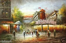 """24""""x36"""" Hand-Painted Oil on Stretched Canvas - Pigalle Paris"""